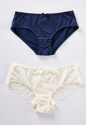 Plus Size Navy And Ivory Lace Panty Set