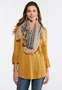 Striped Bell Sleeve Top With Scarf