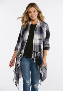 Plus Size Plaid Fringe Open Layering Jacket