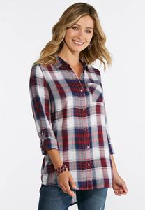 Wine Plaid Button Down Shirt