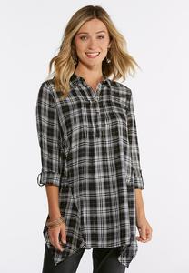 Plus Size Plaid Lurex Handkerchief Hem Tunic