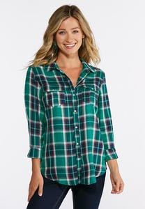 Plus Size Two Pocket Plaid Top