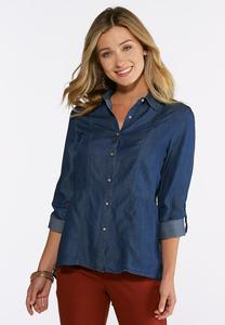 Plus Size Peplum Button Down Denim Shirt