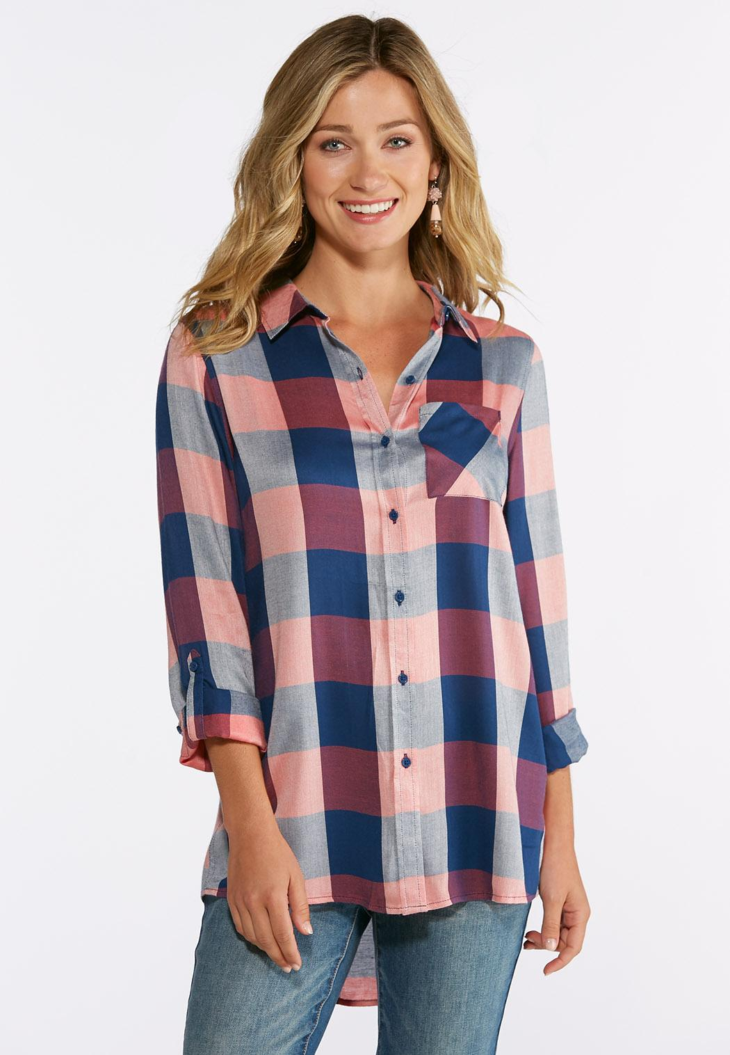 902594059c0ed Plus Size Mauve Plaid Shirt Shirts   Blouses Cato Fashions