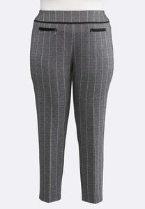 Plus Size Herringbone Slim Leg Pants