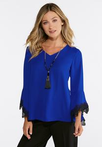 Contrast Lace Sleeve V-Neck Top