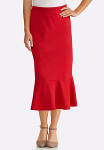 Plus Size Red Flounced Skirt