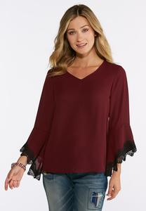 Plus Size Contrast Lace Sleeve Top
