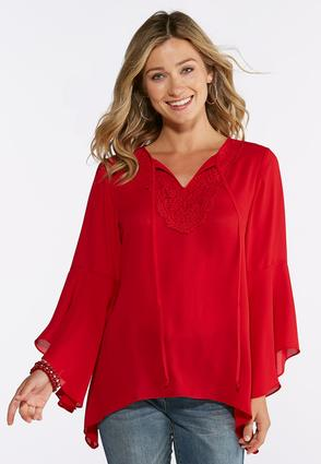 Lace Bib Bell Sleeve Top