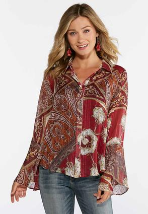 Plus Size Shimmer Paisley Top