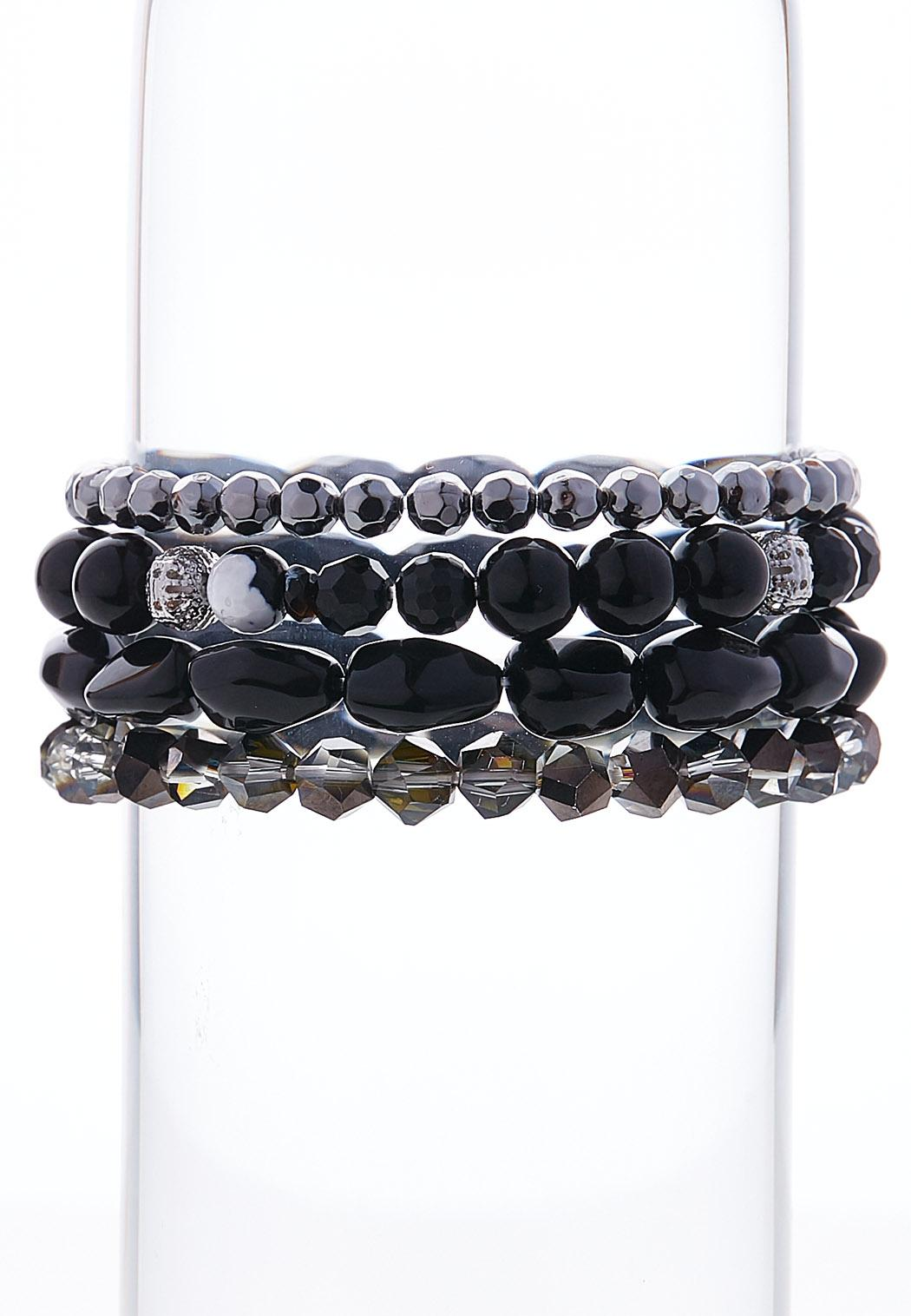 Black Stone Stretch Bracelet Set