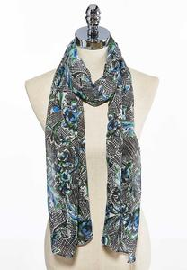 Floral Scroll Sheer Oblong Scarf