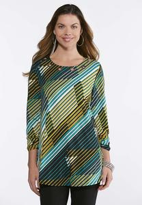 Plus Size Grommet Striped Swing Tunic