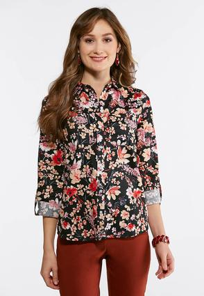 Plus Size Floral Button Down Shirt