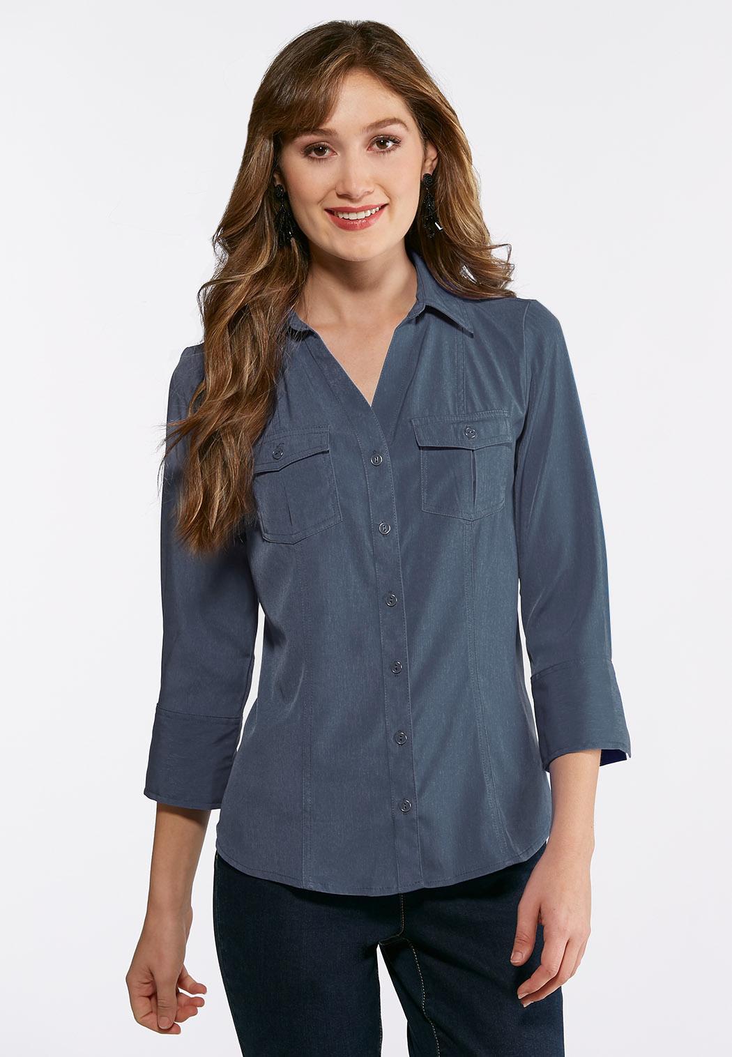 Plus Size Double Pocket Button Down Shirt