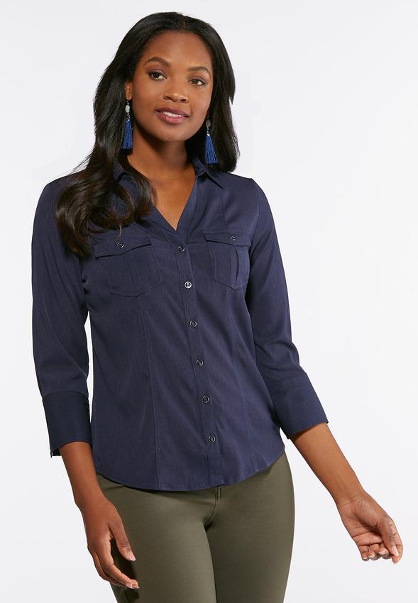 85f6949b4acc Plus Size Double Pocket Button Down Shirt Shirts & Blouses Cato Fashions