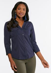Plus Size Double Pocket Button Down Shirt