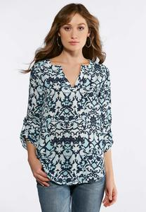 Plus Size Blue Scroll Pullover Top