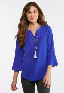 Crepe Flutter Sleeve Top