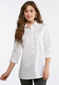 Plus Size White Poplin Tunic
