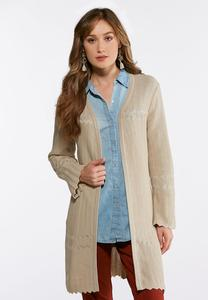 Plus Size Scalloped Hem Duster Cardigan