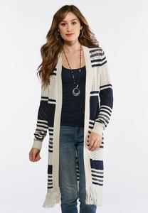 Plus Size Fringed Pointelle Duster