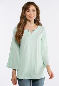 Plus Size Embellished Bell Sleeve Top