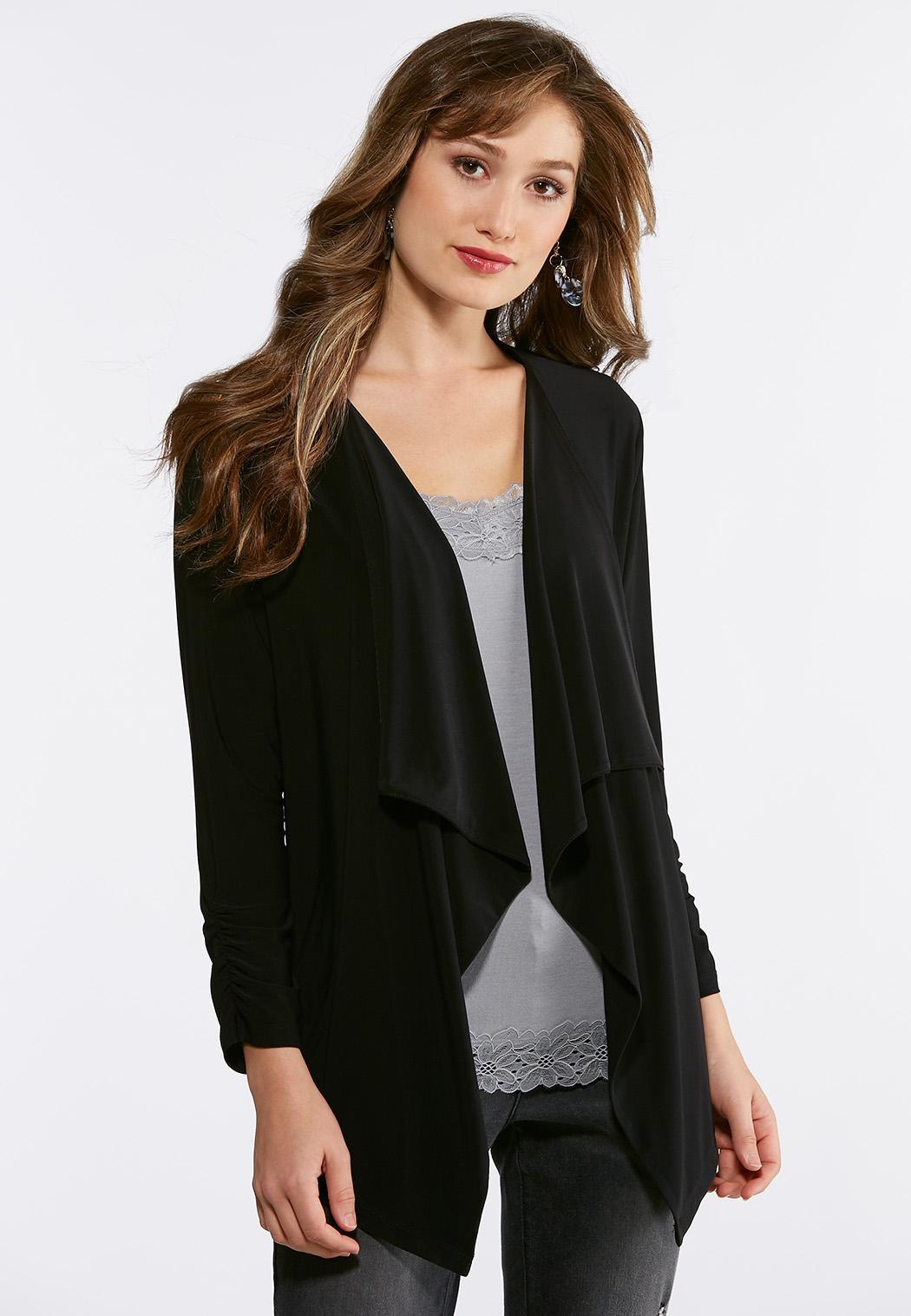 Plus Size Solid Knit Drape Jacket