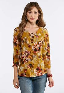 Plus Size Triple Ring Golden Floral Top