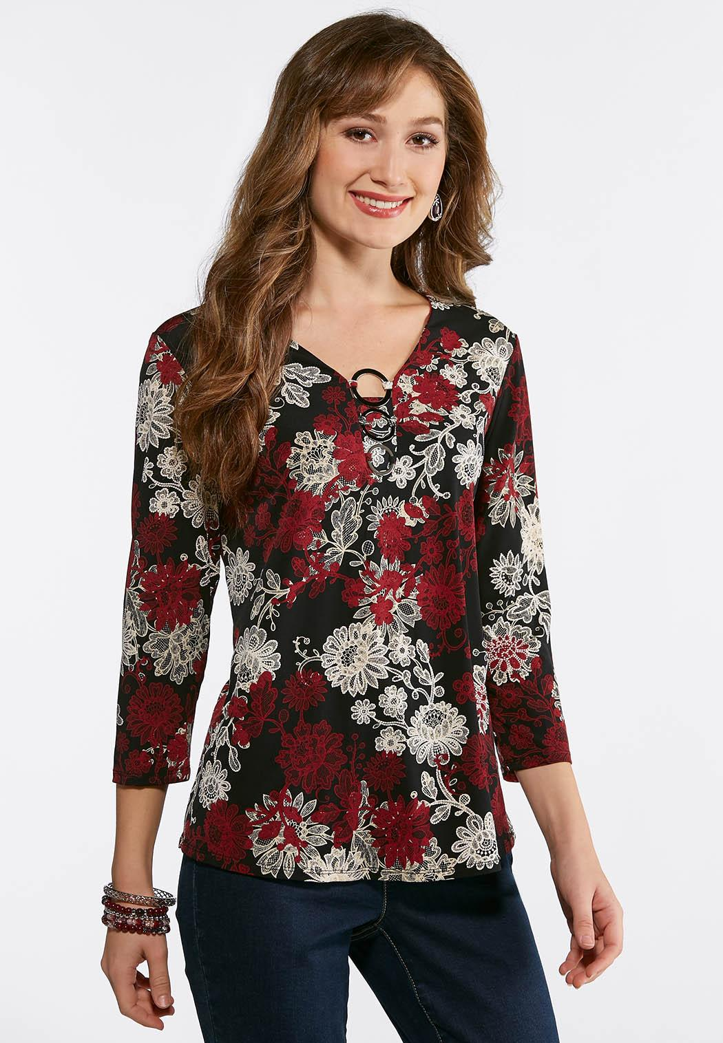 Plus Size Triple Ring Puff Floral Top Tees Knit Tops Cato Fashions - What is a business invoice plus size clothing stores online