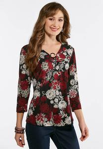Plus Size Triple Ring Puff Floral Top
