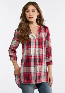 Plus Size Pink Plaid High-Low Tunic