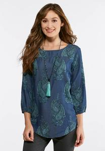 Plus Size Denim Paisley Poet Top