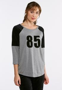 Plus Size Sporty Velvet Raglan Top