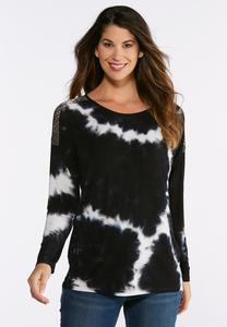 Plus Size Tie Dye Crochet Shoulder Knit Top