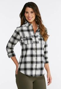 Plaid Lurex Top