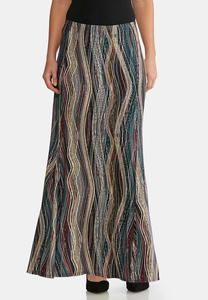Plus Size Puff Print Mermaid Maxi Skirt