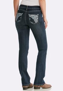 Petite Wing Pocket Bootcut Jeans
