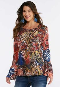 Embellished Mixed Paisley Top