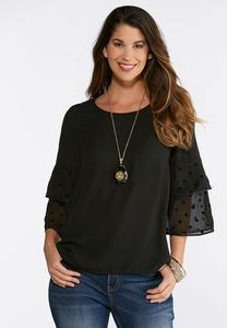 Plus Size Dotted Tiered Sleeve Top