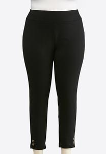 Plus Size Ponte Grommet Trim Leggings