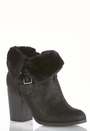 Faux Fur Cuff Ankle Boots