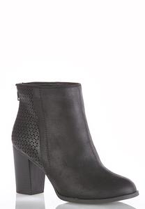 Laser Cut Heel Ankle Boots
