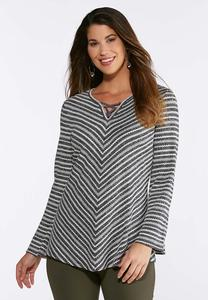 Plus Size Mitered Stripe Top