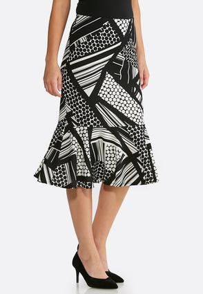 Flounced Geo Print Skirt