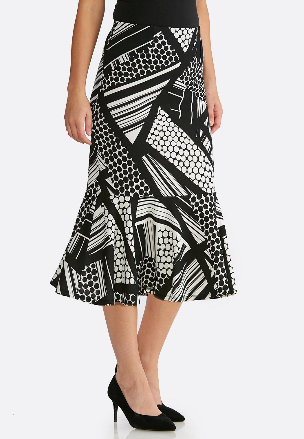 Plus Size Flounced Geo Print Skirt