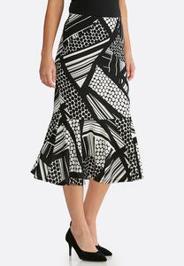Plus Size Flounced Geo Print Skirt