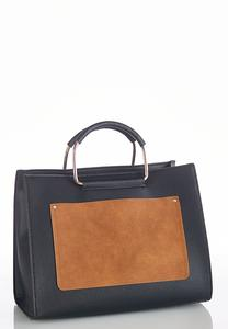 Faux Suede Colorblock Pocket Satchel