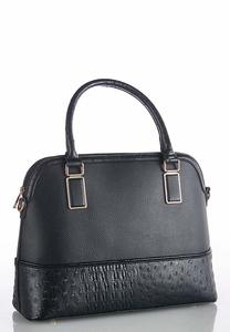 Faux Ostrich Dome Satchel