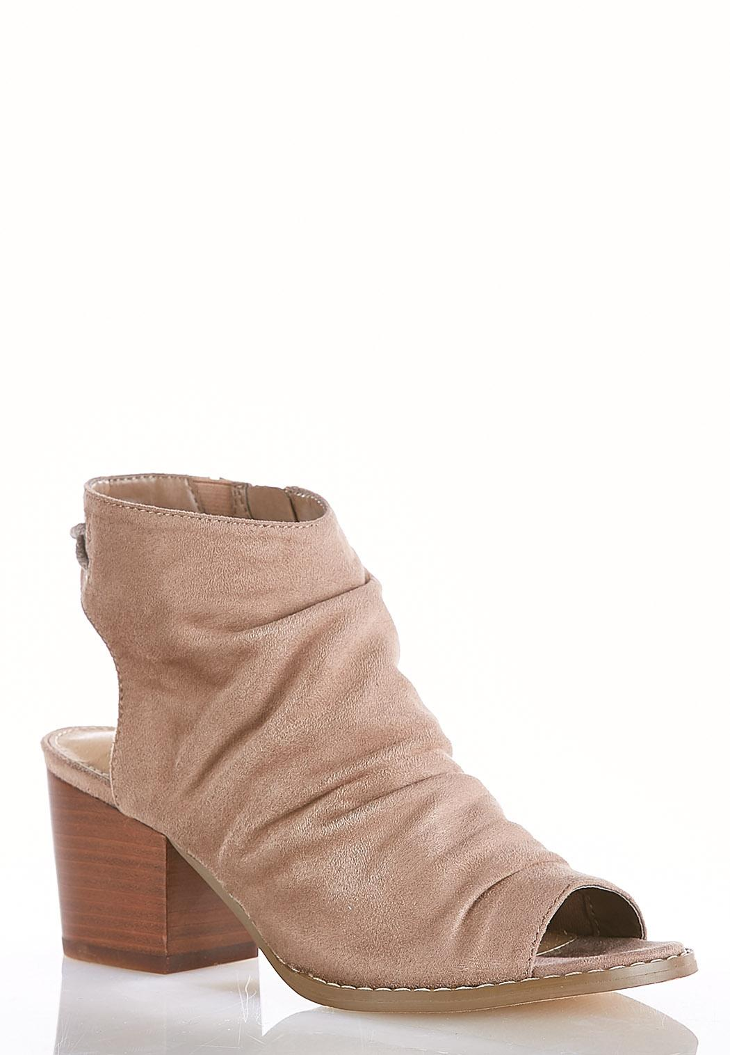 Wide Width Faux Suede Ruched Shooties